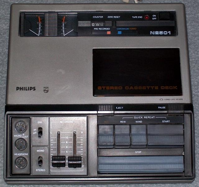 1977 Philips Stereo Cassette Deck N2501