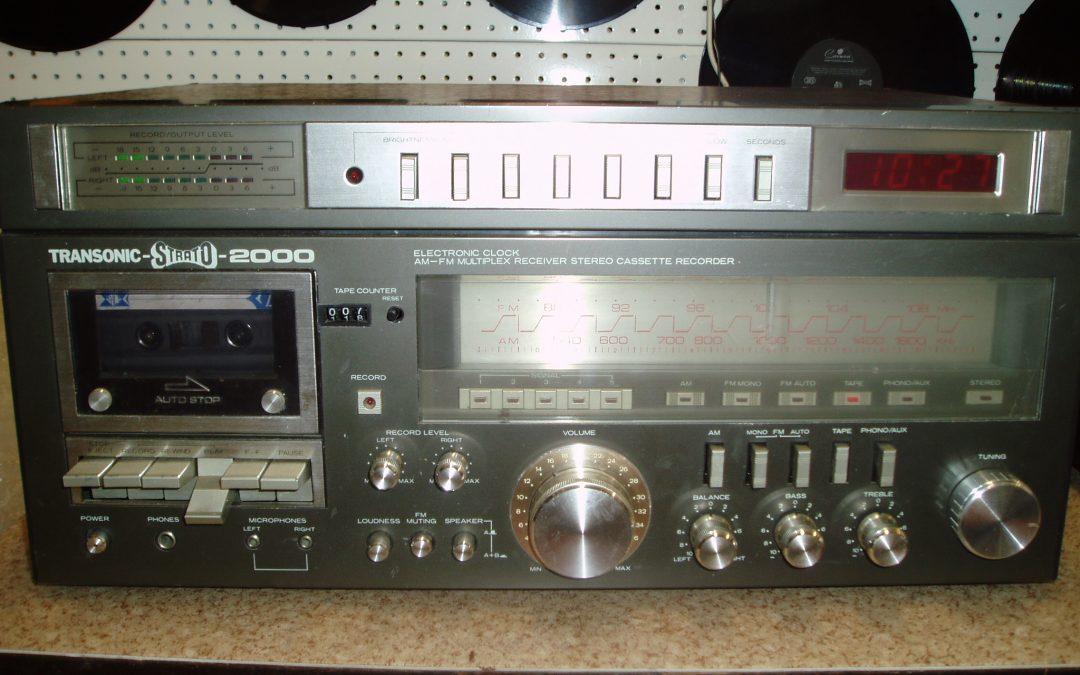 1980 Transonic Electronic Clock AM-FM Multiplex Stereo Cassette Recorder STRATO-2000